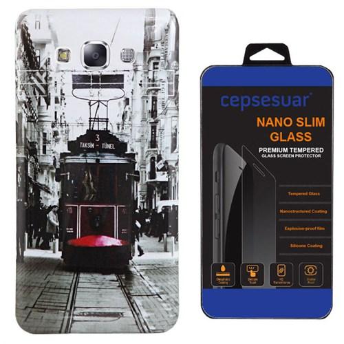 Cepsesuar Samsung Galaxy E5 Kılıf Silikon Resimli Tramvay + Kırılmaz Cam