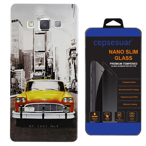 Cepsesuar Samsung Galaxy E5 Kılıf Silikon Desenli Taksi + Kırılmaz Cam