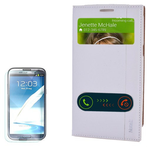 Cep Market Samsung Galaxy Note 2 Kılıf Pencereli Kapaklı Milano Kırılmaz Cam