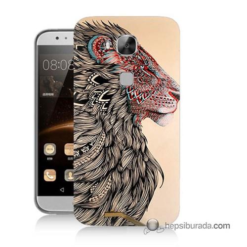 Teknomeg Huawei G8 Kapak Kılıf Aslan Baskılı Silikon