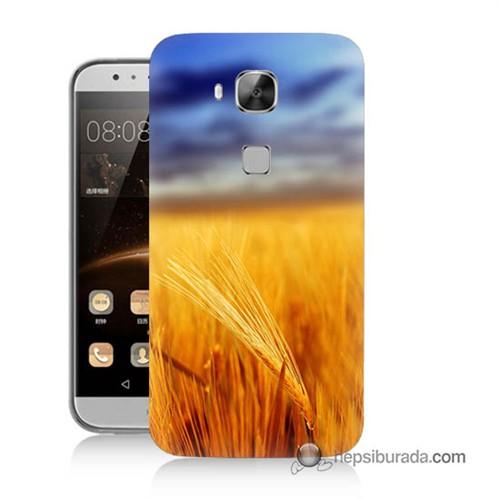 Teknomeg Huawei G8 Kapak Kılıf Sarı Mavi Baskılı Silikon