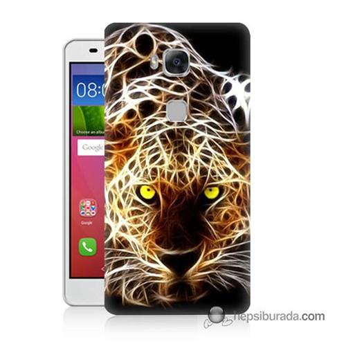 Teknomeg Huawei Gr5 Kapak Kılıf Yanan Aslan Baskılı Silikon