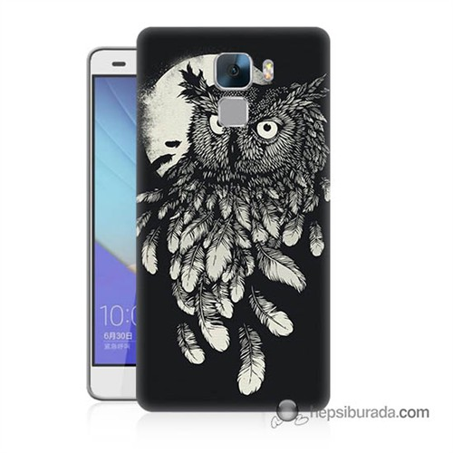 Teknomeg Huawei Honor 7 Kapak Kılıf Gece Kuşu Baskılı Silikon