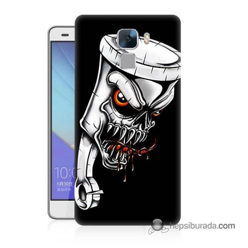 Teknomeg Huawei Honor 7 Kapak Kılıf Piston Baskılı Silikon