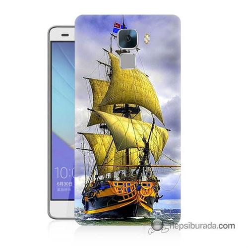 Teknomeg Huawei Honor 7 Kapak Kılıf Gemi Baskılı Silikon