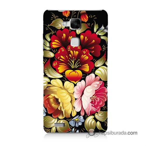 Teknomeg Huawei Mate 7 Kılıf Kapak Çiçekler Baskılı Silikon