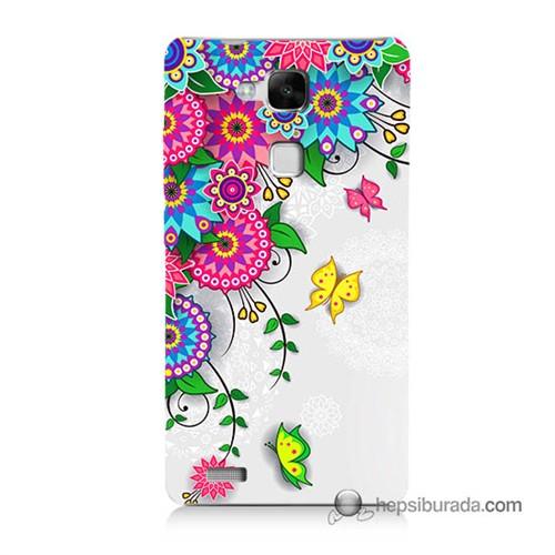 Teknomeg Huawei Mate 7 Kapak Kılıf Çiçek Ve Kelebek Baskılı Silikon