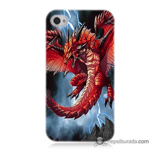 Teknomeg İphone 4S Kapak Kılıf Dragon Baskılı Silikon