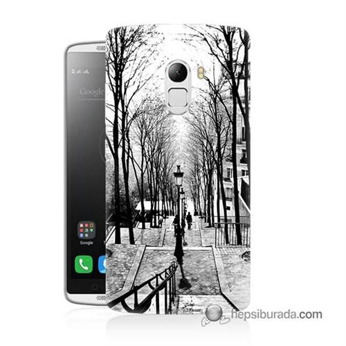 Teknomeg Lenovo A7010 Kapak Kılıf Siyah Beyaz Baskılı Silikon