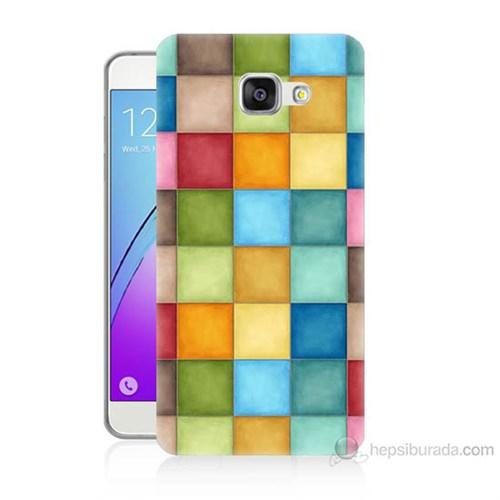 Teknomeg Samsung Galaxy A7 2016 Kapak Kılıf Renkli Kareler Baskılı Silikon