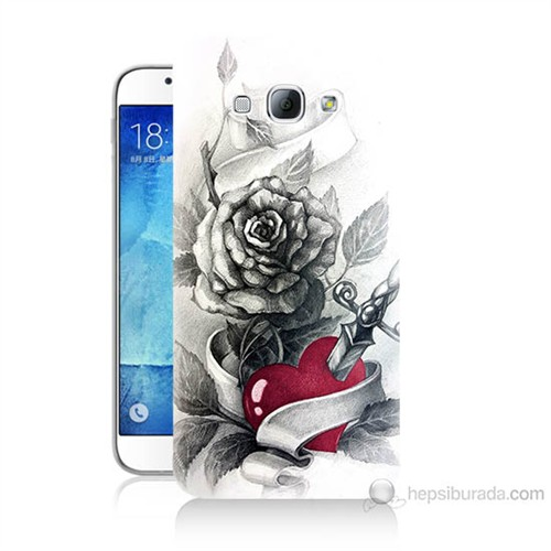Teknomeg Samsung Galaxy A8 Kapak Kılıf Hançerli Kalp Baskılı Silikon