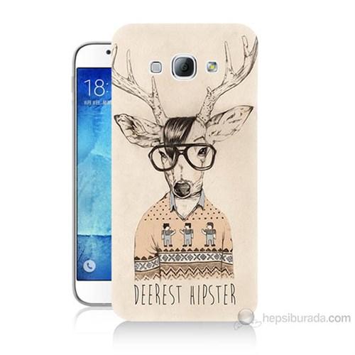Teknomeg Samsung Galaxy A8 Kapak Kılıf Gözlüklü Geyik Baskılı Silikon