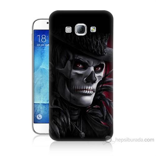 Teknomeg Samsung Galaxy A8 Kapak Kılıf Kuru Kafa Baskılı Silikon