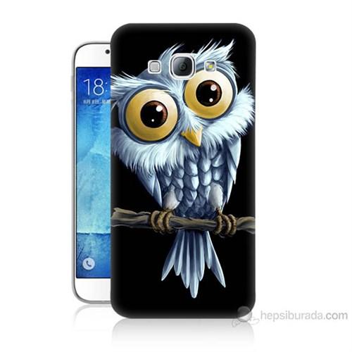 Teknomeg Samsung Galaxy A8 Kapak Kılıf Beyaz Baykuş Baskılı Silikon