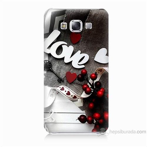 Teknomeg Samsung Galaxy E5 Kapak Kılıf Love Baskılı Silikon