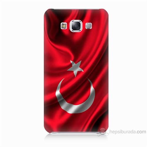 Teknomeg Samsung Galaxy E5 Kapak Kılıf Türkiye Bayrağı Baskılı Silikon
