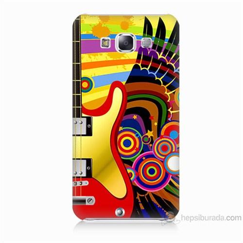 Teknomeg Samsung Galaxy E5 Kapak Kılıf Renkli Gitar Baskılı Silikon