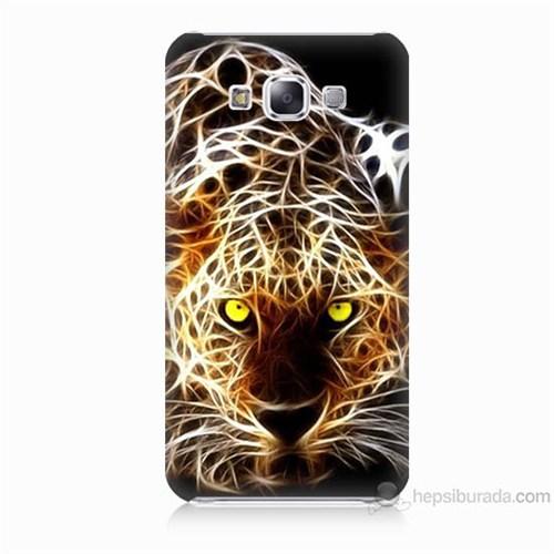 Teknomeg Samsung Galaxy E7 Kapak Kılıf Yanan Aslan Baskılı Silikon