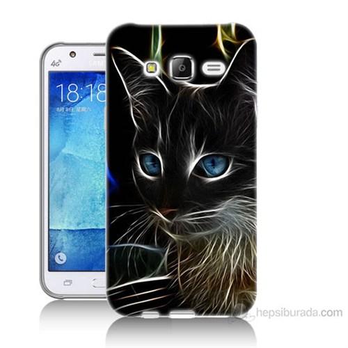 Teknomeg Samsung Galaxy J7 Kapak Kılıf Dumanlı Kedi Baskılı Silikon