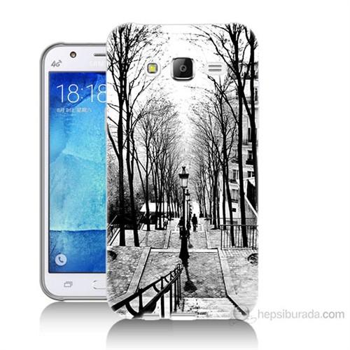 Teknomeg Samsung Galaxy J7 Kapak Kılıf Siyah Beyaz Baskılı Silikon