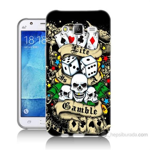 Teknomeg Samsung Galaxy J7 Kapak Kılıf Kumar Baskılı Silikon