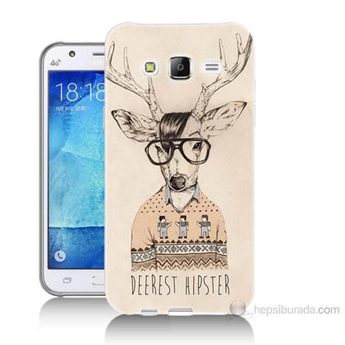 Teknomeg Samsung Galaxy J5 Kapak Kılıf Gözlüklü Geyik Baskılı Silikon