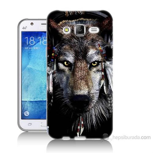 Teknomeg Samsung Galaxy J5 Kapak Kılıf Kızıldereli Kurt Baskılı Silikon