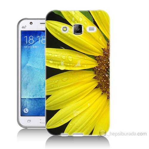 Teknomeg Samsung Galaxy J5 Kapak Kılıf Sarı Çiçek Baskılı Silikon