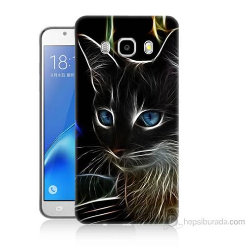 Teknomeg Samsung Galaxy J7 2016 Kapak Kılıf Dumanlı Kedi Baskılı Silikon