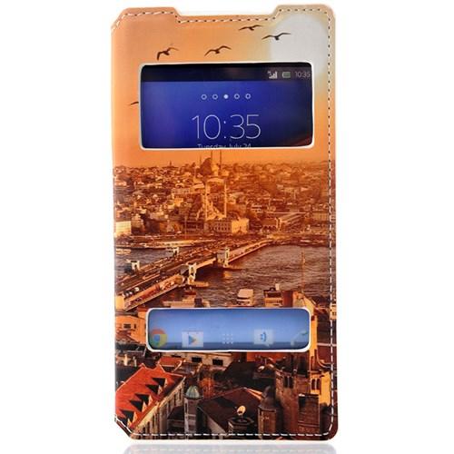 Coverzone Sony Xperia Z2 Kılıf Kapaklı Pencereli Galata