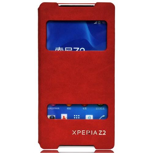 Coverzone Sony Xperia Z2 Kılıf Süet Pencereli