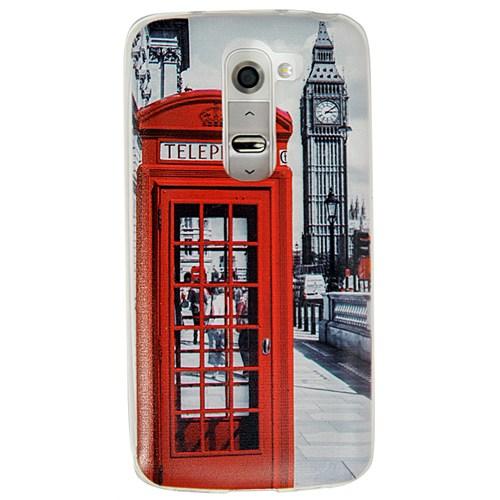 Coverzone Lg G2 Kılıf Silikon Resimli Dekoratif Londra Telefon Kulübesi
