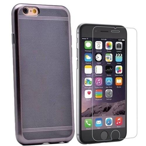 Kılıfshop Apple İphone 6 Plus Strom Silikon Kılıf (Siyah) + Kırılmaz Cam Ekran Koruyucu