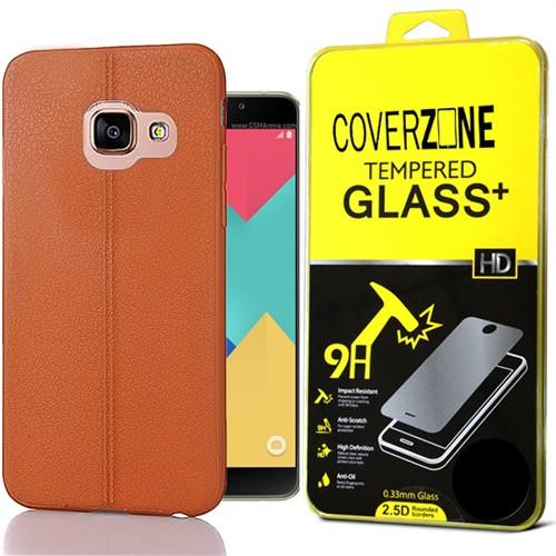 Coverzone Samsung Galaxy A9 Kılıf 2016 Deri Silikon + Kırılmaz Cam
