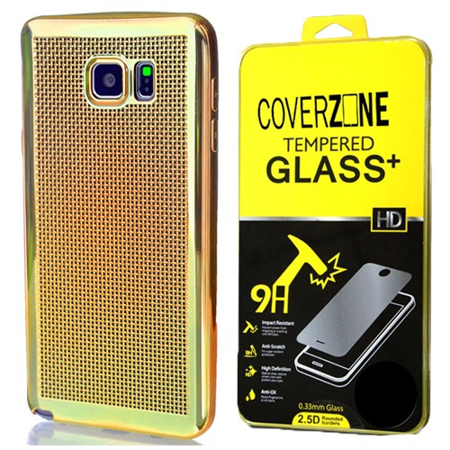 Coverzone Samsung Galaxy A5 Kılıf 2016 A510 Silikon Hasır Dizayn + Kırılmaz Cam