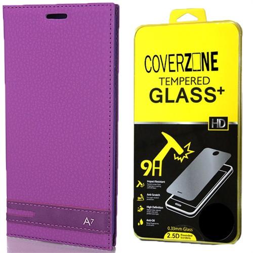 Coverzone Samsung Galaxy A7 Kılıf 2016 A710 Elite Deri Kapaklı + Kırılmaz Cam