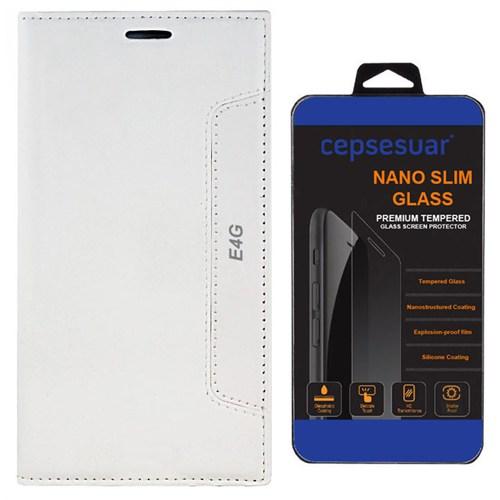 Cepsesuar Sony Xperia E4g Kılıf Kapaklı Lotus Beyaz - Kırılmaz Cam