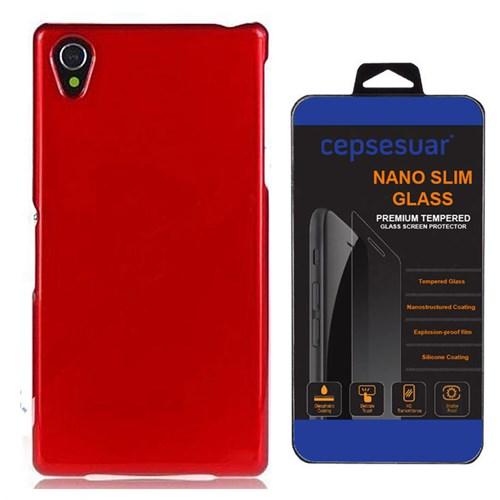 Cepsesuar Sony Xperia Z1 Kılıf Silikon Kırmızı - Kırılmaz Cam