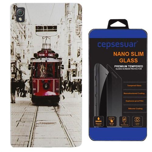 Cepsesuar Sony Xperia Z3 Kılıf Silikon Desenli Tramvay - Kırılmaz Cam