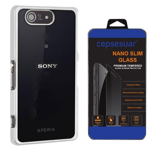 Cepsesuar Sony Xperia Z3 Compact Kılıf Silikon Lazer Gümüş - Kırılmaz Cam