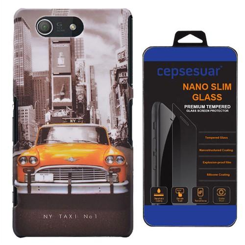 Cepsesuar Sony Xperia Z3 Mini Kılıf Desenli Arka Kapak Taksi - Kırılmaz Cam