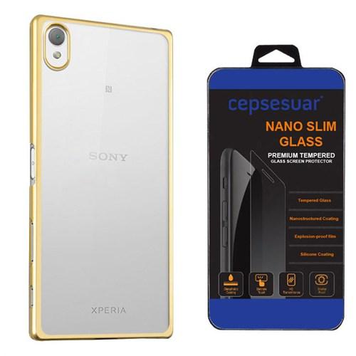 Cepsesuar Sony Xperia Z5 Kılıf Silikon Lazer Gold - Kırılmaz Cam