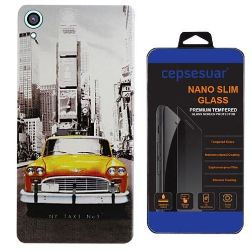Cepsesuar Htc Desire 820 Kılıf Silikon Desenli Taksi - Kırılmaz Cam