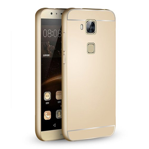 Cepsesuar Huawei G8 Kılıf Aynalı Bumper Gold - Kırılmaz Cam