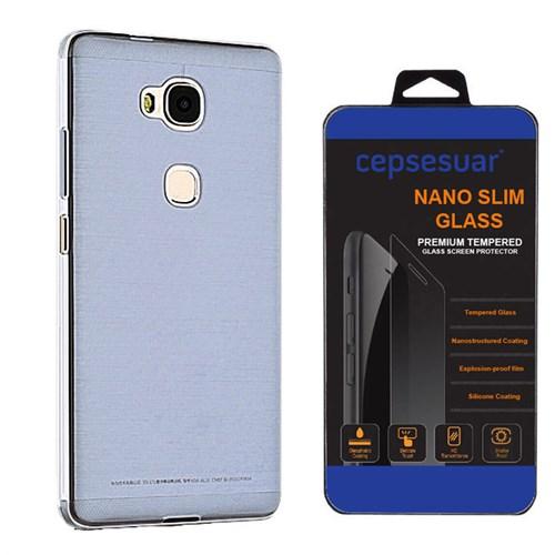 Cepsesuar Huawei Gr5 Kılıf Silikon 0.2 Mm Mavi - Kırılmaz Cam