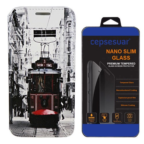 Cepsesuar Huawei P8 Lite Kılıf Standlı Tramvay - Kırılmaz Cam