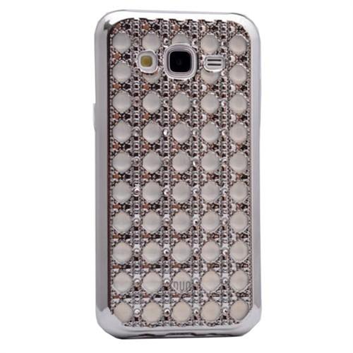 Teleplus Samsung Galaxy J7 Taşlı Silikon Kılıf Gümüş