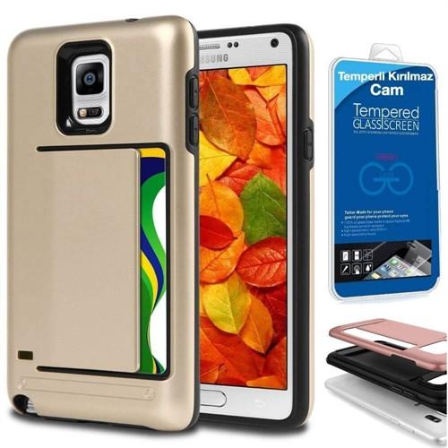 Teleplus Samsung Galaxy Note 4 Çift Koruma Cüzdanlı Kapak Kılıf Gold + Kırılmaz Cam
