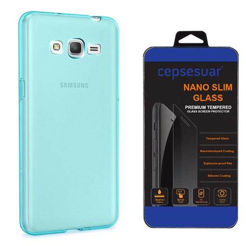 Cepsesuar Samsung Galaxy Grand Prime Kılıf Silikon 0.2 Mm Mavi + Kırılmaz Cam