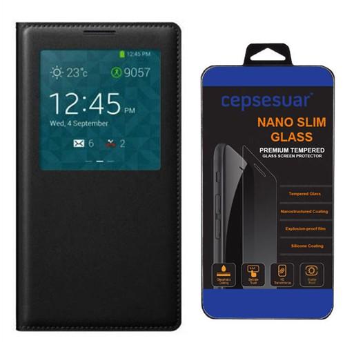Cepsesuar Samsung Galaxy Note 3 Neo Kılıf Flip Cover Siyah + Kırılmaz Cam
